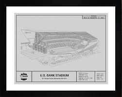 What Size Paper Are Blueprints Printed On Minnesota Vikings U S Bank Stadium Blueprint Art Gift Wall Art