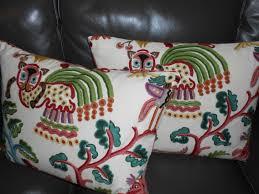 Designer Pillows Clarence House Throw Pillows Huberta Crewel Embroidered Cotton