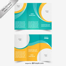 tri fold brochure ai template blue and yellow brochure template vector free