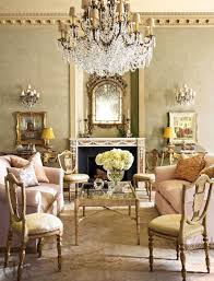 french living rooms with chandelier and mirror french style