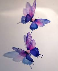 butterflies 4 pink purple made removable sparkling 3d butterfly