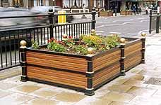 timber cast iron planters