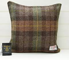 brown green throw pillow plaid tartan cushion cover genuine