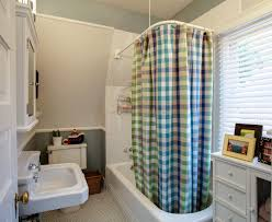 Ceiling Mounted Shower Curtain Rods by Decorating Bathroom Sink And Wall Mirror With Chair Rails Also
