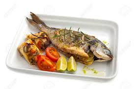 dorade cuisine oven cooked fish dorade with bread an spices stock photo picture