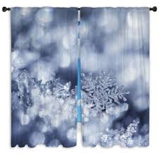 Winter Window Curtains Snowflake Custom Size Window Curtains