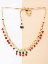 gold green necklace images Buy red green gold plated kundan choker necklace online at theloom jpg
