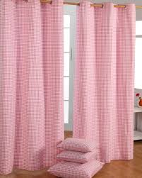 cotton gingham check pink ready made eyelet curtains homescapes