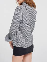 houndstooth blouse multicolor casual houndstooth cotton sleeve tie neck printed