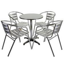 Aluminium Bistro Chairs Marko Outdoor Garden Furniture Aluminium 4 Armchair Table 60cm