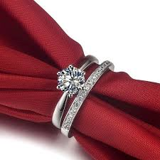 wedding band set popular solid white gold 2carat engagement solitaire 14k rings set