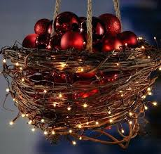 diy decorations hanging basket with lights and baubles click