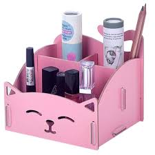 Pink Desk Organizers And Accessories Diy Wooden Cosmetics Storage Box Cat Desktop