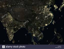 World At Night Map by India And China At Night In 2012 This Satellite Image Shows Urban