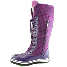 womens purple boots size 12 knee high 2 tone up d cor zipper warm fur water resistant alaska