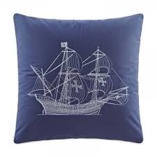 blue sailboat embroidered pillows mediterranean style bed rest