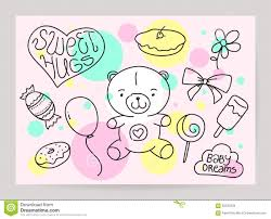 kid u0027s hand drawn greeting card design with doodle stock vector