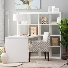 furniture rectangle white wooden corner desk with square shelves