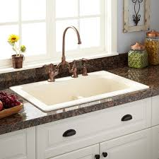 overmount sink on granite 33 fayette double bowl drop in granite composite sink cream kitchen