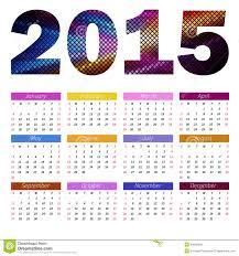 simple european 2015 year color vector calendar stock vector