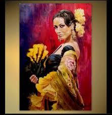 custom portrait original oil painting flamenco dancer with a