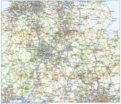 Counties Of England Map by Central England County Map With Road And Rail 750 000 Scale In