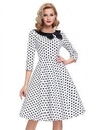 vintage style elegant polka dot dress white