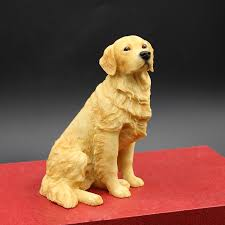 golden retriever dog hand painted figurine resin statue