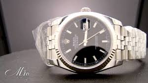 rolex white gold oyster bracelet images Mens rolex datejust black index dial fluted 18k white gold bezel jpg