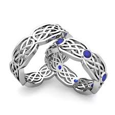 celtic wedding ring sets his wedding band 18k gold celtic knot sapphire wedding ring