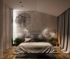 bedroom expressively designed bedroom features concrete walls with