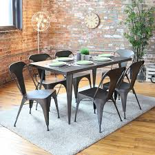 Wrought Iron Kitchen Table Rustic Dining Room Decoration Using Vintage Grey Metal Dining