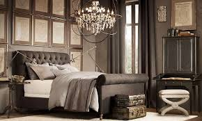 contemporary master bedroom with hardwood floors u0026 chandelier