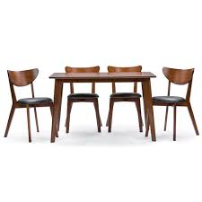 Dining Room Table Styles Baxton Studio Sumner Mid Century Style Walnut Brown 5 Piece Dining