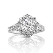 halo engagement rings vintage floral halo engagement ring with pav eacute