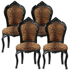 Esszimmer Designer St Le Stühle Schwarz Leopard Muster Barock Design 4er Set Stühle Antike