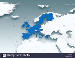 Map Western Europe by Map Western Europe White Grey Physical European Union Stock