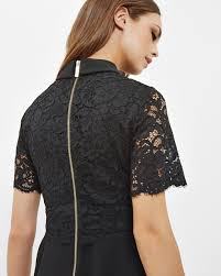 ted baker dixxy layered lace polyester black dress black occasion
