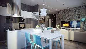le cuisine moderne salle à manger design dans un petit appartement de ville moderne
