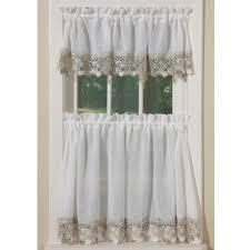 Kitchen Curtain Valance by Kitchen Vineyard Macrame Curtains Valance Tiers Ivory Kitchen