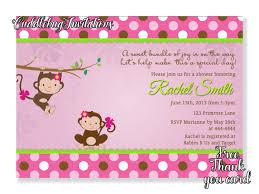 pink monkey baby shower invitation pink baby