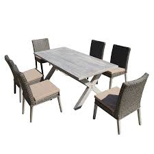 Wicker Patio Dining Sets Shop Thy Hom Lindmere 7 Piece Grey Wicker Patio Dining Set At