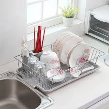 Dishes Rack Drainer Amazon Com Basicwise Stainless Steel Dish Rack With Plastic Drain