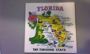 Weeki Wachee Florida Map by Florida Map Souvenir Tile Trivet Ceramic Made In Philippines From