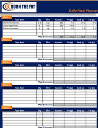 Meal Plan Excel Template Burn The Feed The Meal Planner Tracking Spreadsheet
