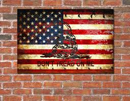 2nd Amendment Flag American Flag And Viper On Rusted Metal Door Don U0027t Tread On Me