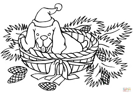 christmas dog coloring free printable coloring pages