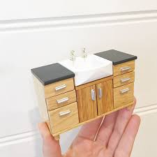 miniature dollhouse kitchen furniture modern style kitchen or bathroom sink 1 12 scale miniature for
