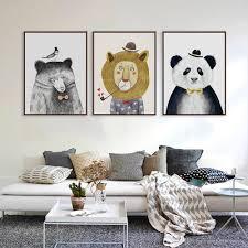 Bear Home Decor Triptych Watercolor Nordic Animal Lion Bear Panda A4 Art Prints