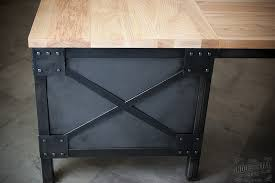 industrial desk l ash wood steel l shaped desk custom industrial desk wo flickr